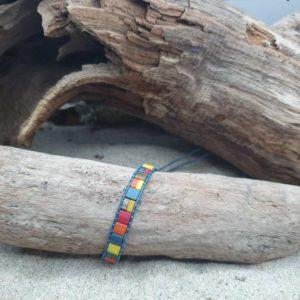 Bracelet  wrap cuir bleu –  Iroquois – Perles carrées – Bleu, Ocre, jaune, Brique, Bronze, Orange, Rouge