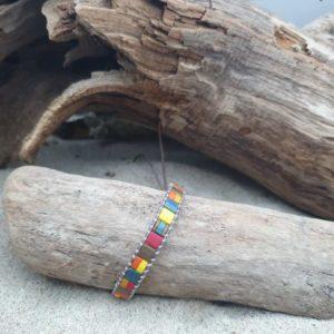 Bracelet  wrap cuir brun naturel –  Iroquois – Perles carrées – Bleu, Ocre, jaune, Brique, Bronze, Orange, Rouge