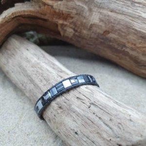 Bracelet  wrap cuir noir  – Tempête – perles carrées –  Noir et gris