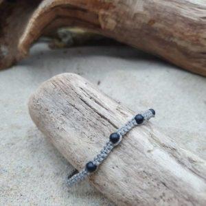 Bracelet Macramé épais  – fil gris – Agate noire